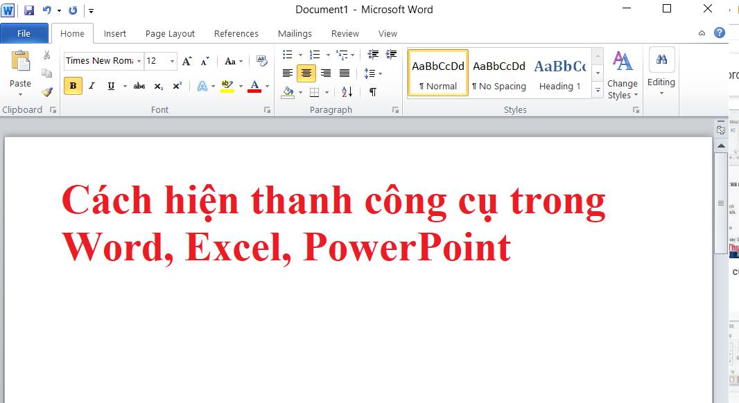 Hướng dẫn cách hiện thanh công cụ trong Word, Excel, PowerPoint