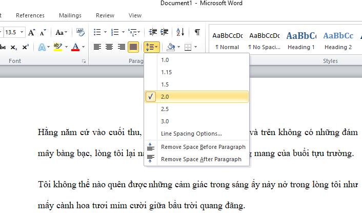 Hướng dẫn cách căn chỉnh khoảng cách dòng trong word nhanh nhất